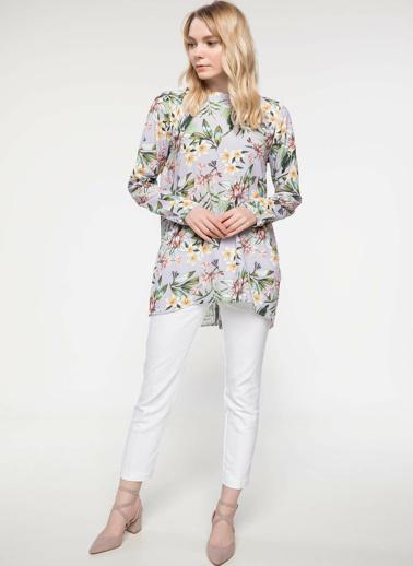 DeFacto Floral Desenli Uzun Kollu Tunik Pembe